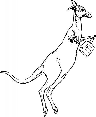 Раскраска кенгуру с краской