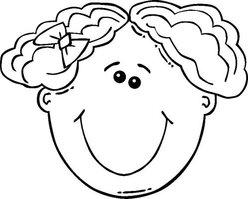 Раскраска голова девочки - 3