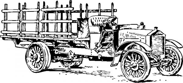 Раскраска «Старинный грузовик», распечатать бесплатно