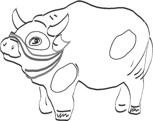 Раскраска «Пузатый бычок», распечатать бесплатно