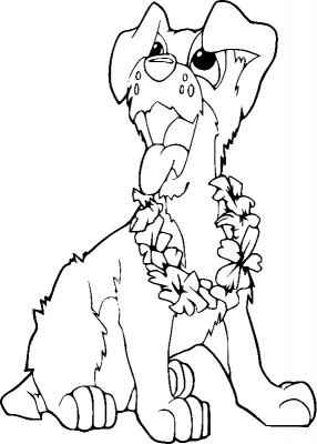 Раскраска «Собачка с венком», распечатать бесплатно