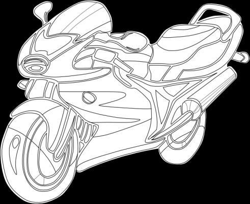 Раскраска «Спортивный мотоцикл», распечатать бесплатно