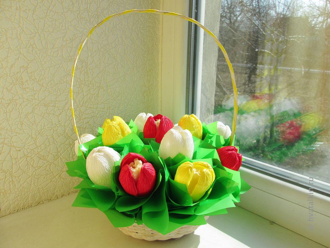 Подарки цветы в корзине своими руками из бумаги